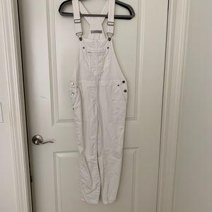 White women's denim overalls